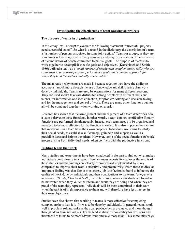 effective teams essay Building effective teams essaysfundamentals of building effective teams many factors are involved in building and maintaining an effective team an effective team needs a supportive environment, good leadership, discipline, effective communication, challenge and empowerment but in my opinio.