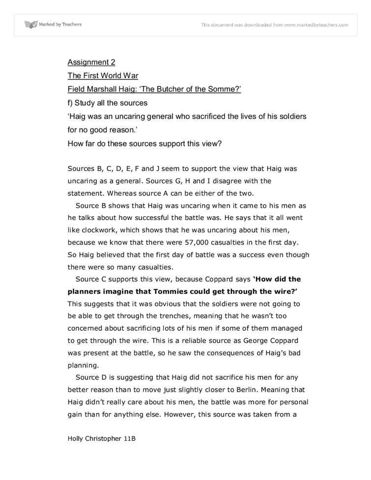 butcher of the somme essay