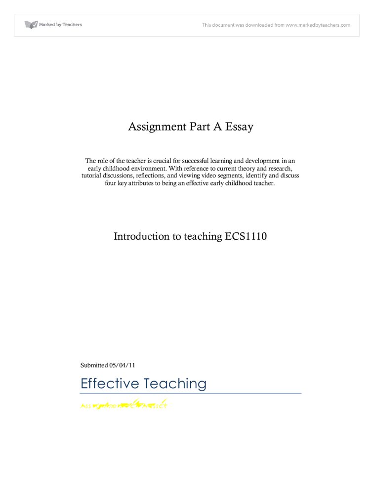 becoming an effective early childhood teacher university  document image preview