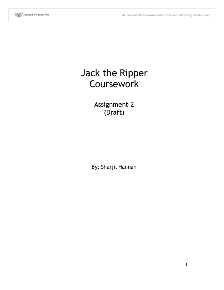 Jack the Ripper Coursework