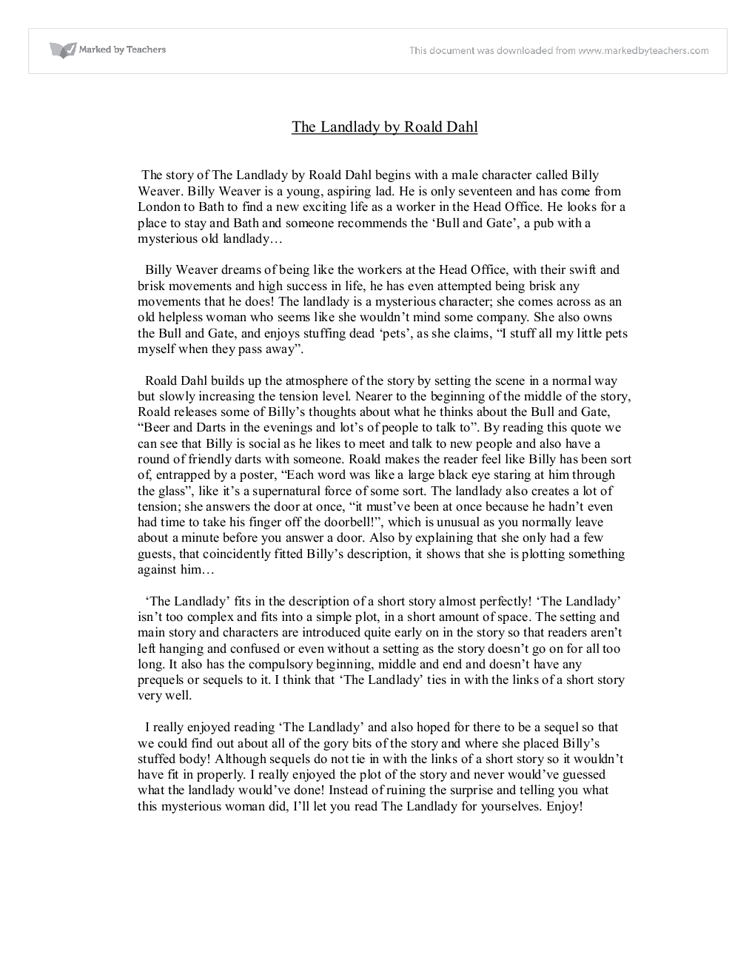 Analytical essay on Roald Dahl's The Landlady Essay