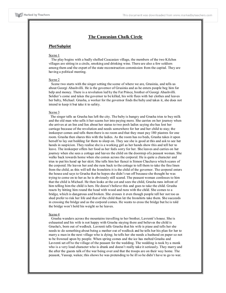 caucasian chalk circle plot essay The caucasian chalk circle and mother courage and her children essay   bertolt brecht notes from a past assessment - including analysis on my osp,.