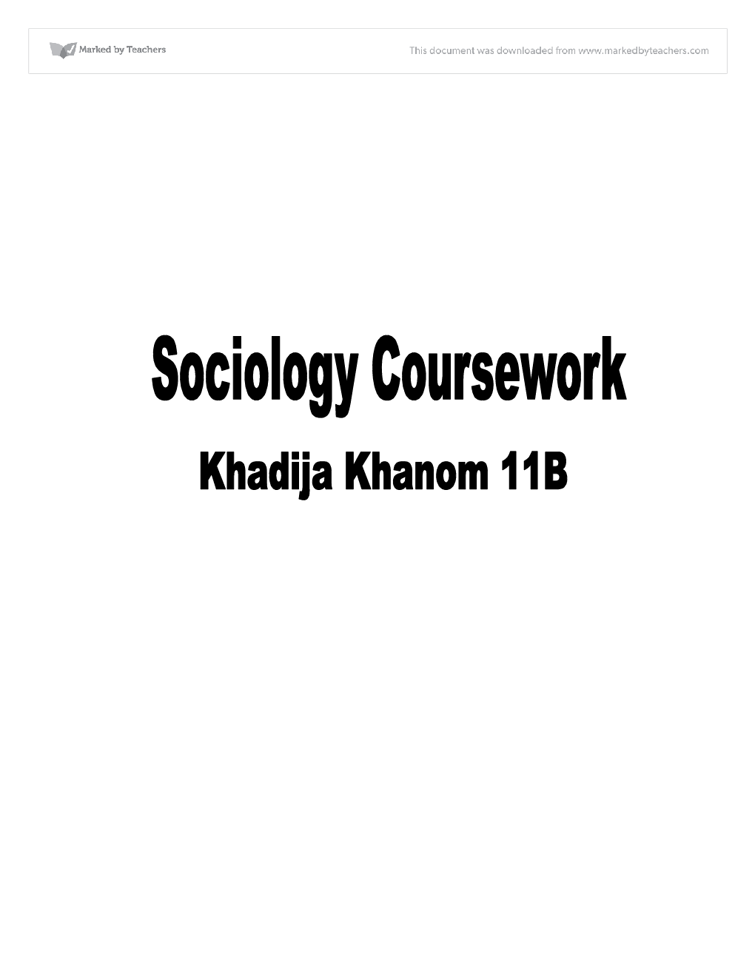 Sociology gcse coursework help