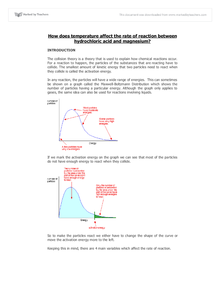chemistry coursework rate of reaction evaluation Rates of reaction coursework the collision theory is explained by the rate of reaction [tags: gcse chemistry coursework investigation] evaluation my.