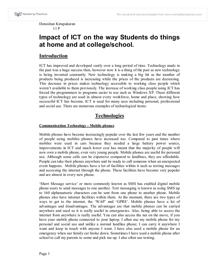 how do i use ict at school and at home? essay Sample essay (800 words) for the assignment question and analysis, see  and whether or not they are appropriate for classroom use school boards and teachers must.