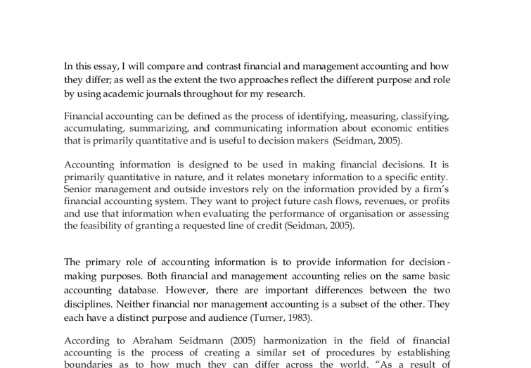 Management accounting report essay