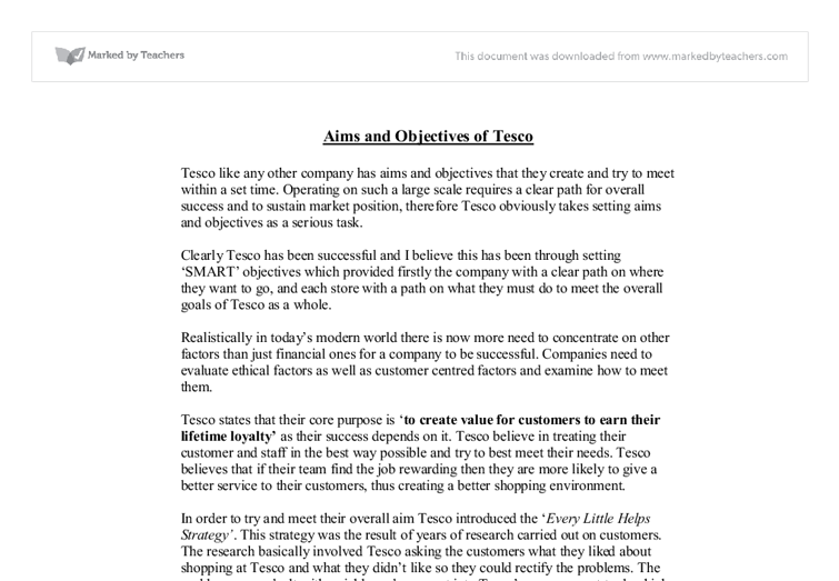 aims of tesco a level business studies marked by teachers com document image preview