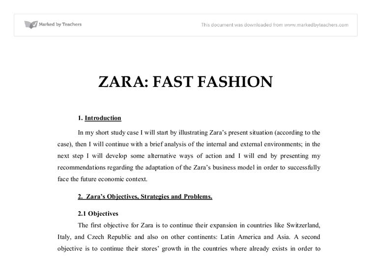 zara fast fashion case study solution