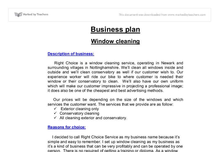 business plan window cleaning a level business studies marked  document image preview