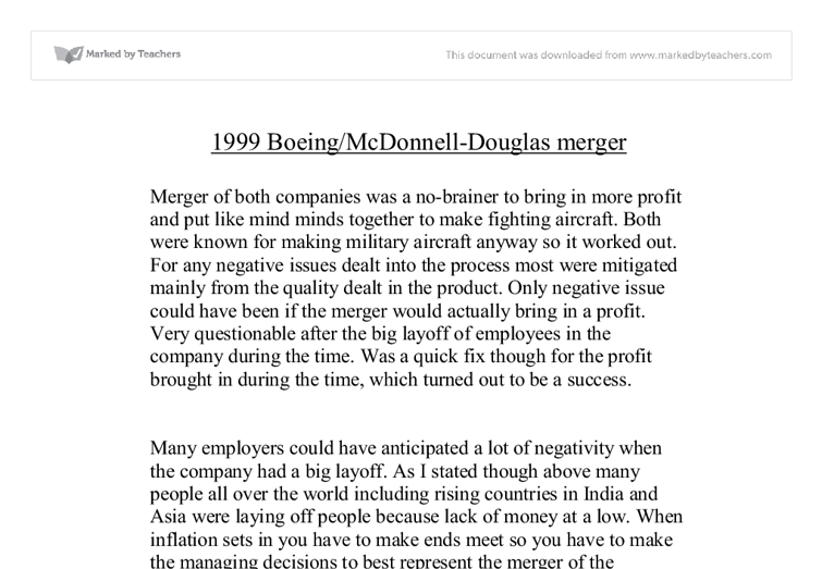 boeing and mcdonnell douglas merger essay Browse sec filings from boeing and mcdonnell douglas ralph nader and his center for study of responsive law oppose the merger vanderbilt's business school and cornell's law school maintain sites on antitrust policy and law, respectively.