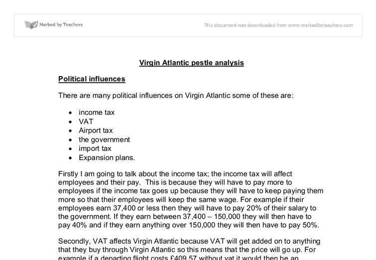 virgin atlantic pestle analysis a level business studies  document image preview