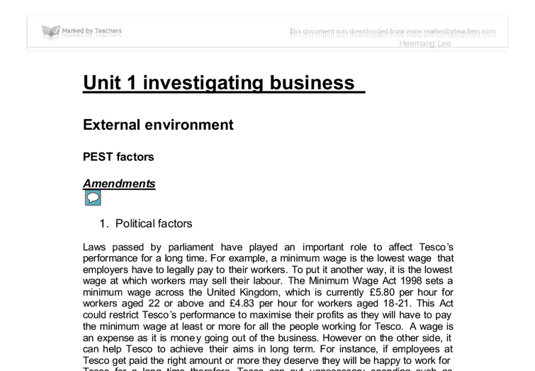 pest analysis of tescos a level business studies marked by  document image preview