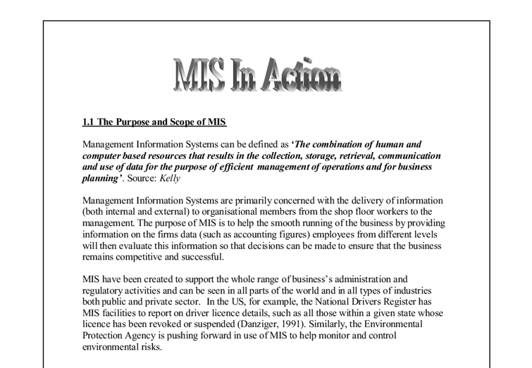 The Purpose and Scope of MIS - Management information