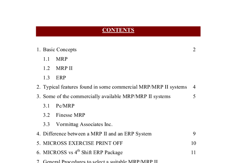 role of mrp mrpii and erp system information technology essay This essay expansions of material requirements planning and  (mrp ii), and enterprise resource planning erp  further advancements in the mrp ii system resulted.