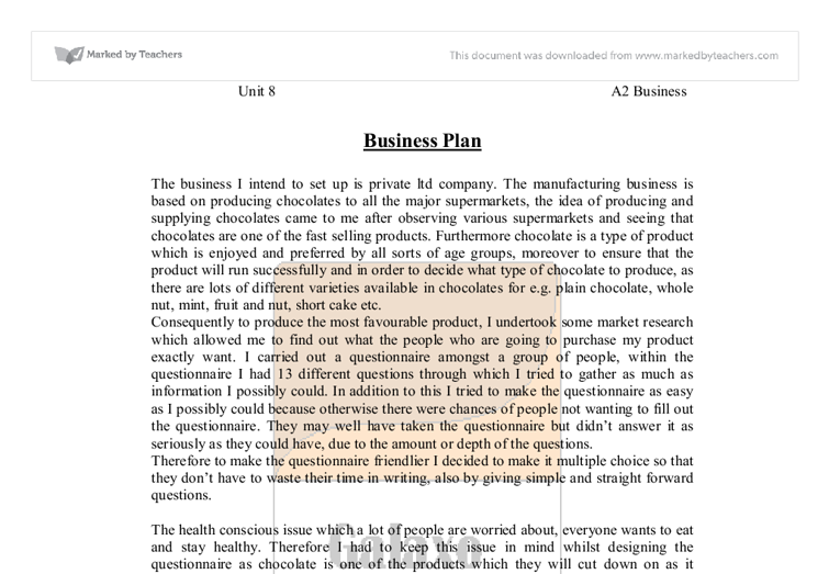 Unit 8 business planning coursework