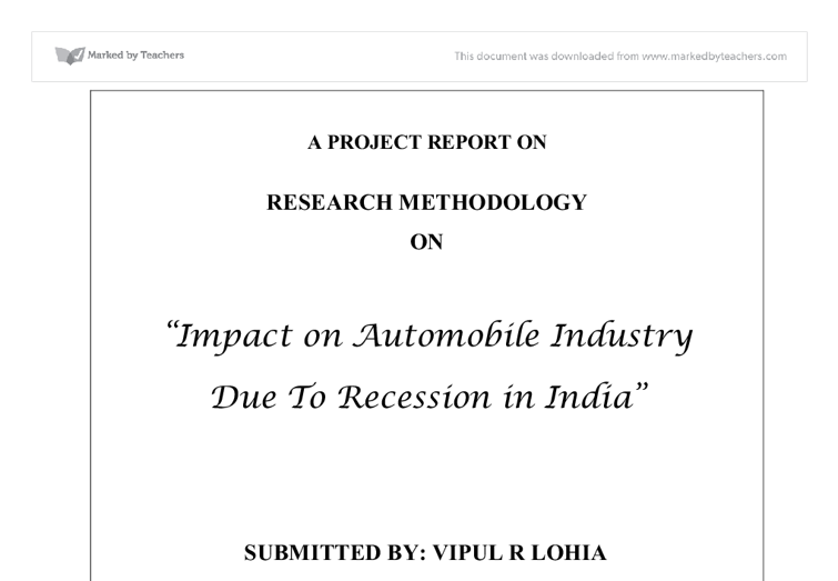 essay on recession in india