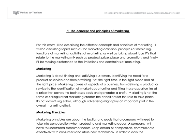 the concept and principles of marketing a level business studies  document image preview