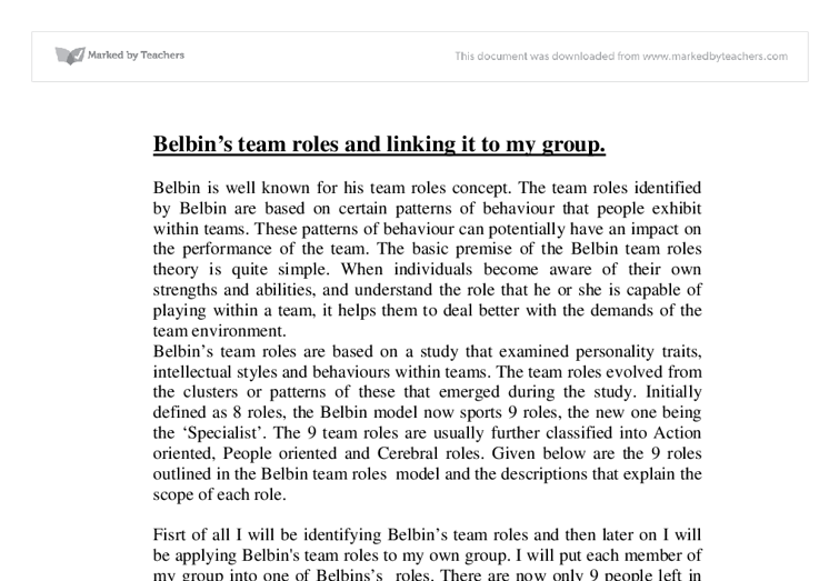 belbins team roles essay Belbin's 'team roles inventory' name professor's name course date in most organizations in the world, ability to measure up to the company or an organizations o.