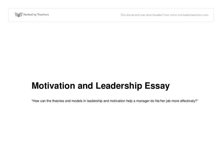 motivation and leadership essay a level business studies  document image preview