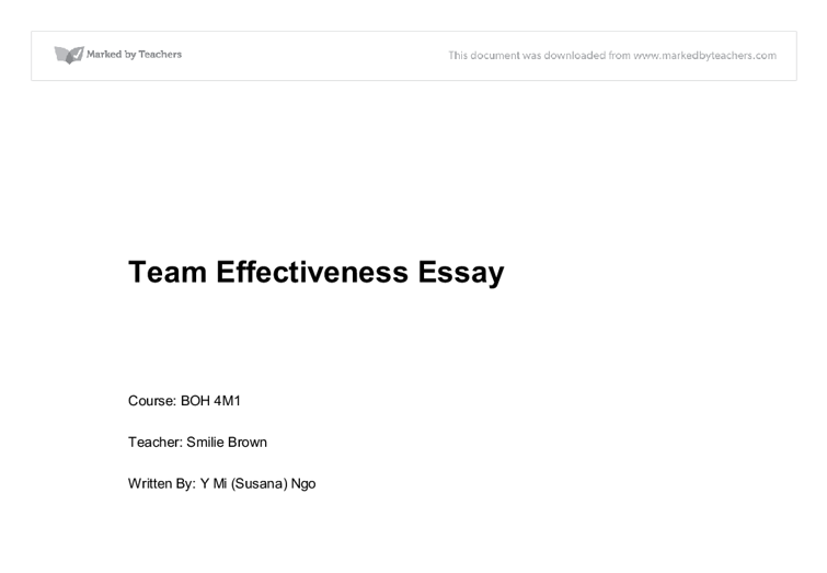Essay on Group Work