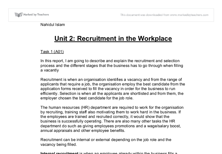 business studies recruitment essay Business studies  describe the recruitment documentation used in a selected business p1 - describe the recruitment documentation  3 essay p7/m3 .