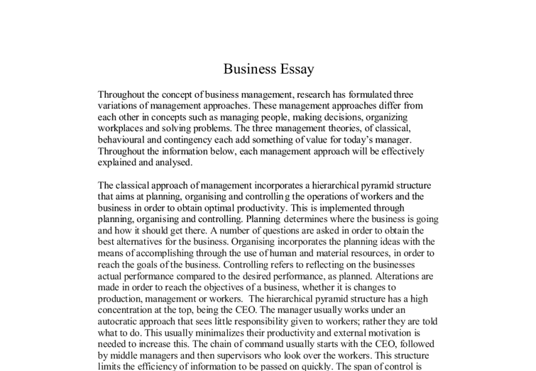 Business Management Essays Business Business Management Essays Pics  Business Management Approaches The Three Management Theories Of Document  Image Preview