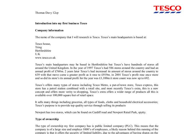 introduction into tesco essay This essay will begin by investigating into social attitudes of the customers and also the social trends of customers which affect the  introduction tesco.