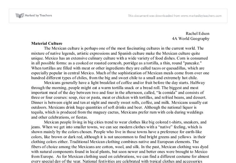 culture and society paper on mexican culture The culture of mexico varies widely throughout the country, but traditions are highly valued family is one of the most important elements in mexican society, according to historycom especially outside of one distinguishing article of traditional men's clothing is a large blanket cape called a sarape.