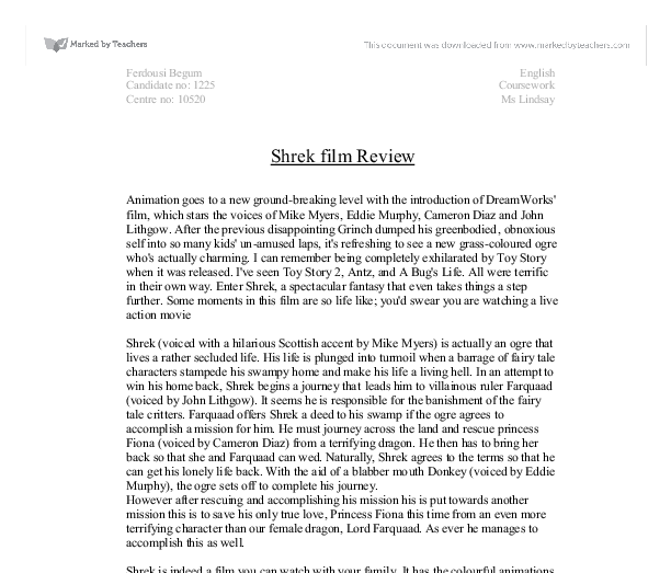 essay film review of shrek