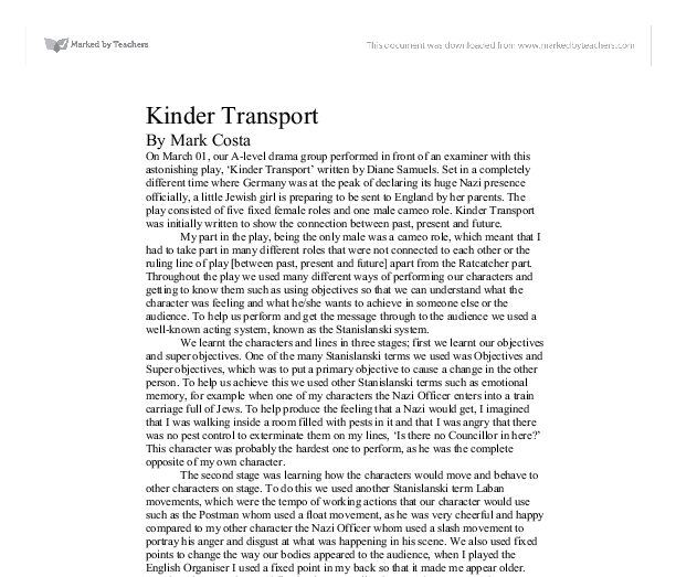 kinder transport essay Kindertransport the attic has been filled with junk we decided to make the space more austere, the debris of the past hidden in cases and wardrobes, as a reflection of evelyn's inner state it is this emphasis on the 'inner' or the subjective experience which.