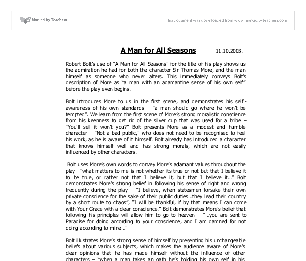 a man for all seasons theme essay