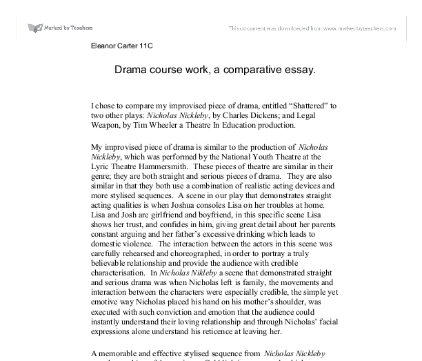 Drama course work, a comparative essay. - A-Level Drama - Marked ...