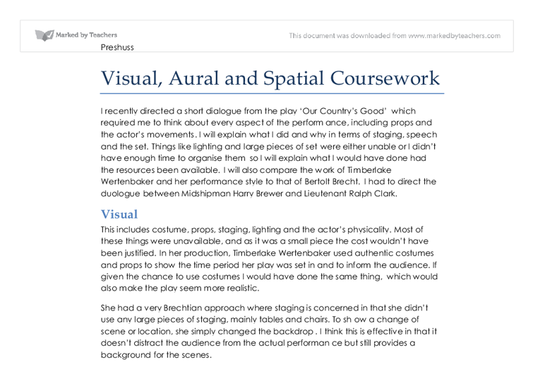 aural and spatial elements essay Maximize your learning by focusing on the visual elements  remember concepts through spatial and  potential essay questions or test questions to .