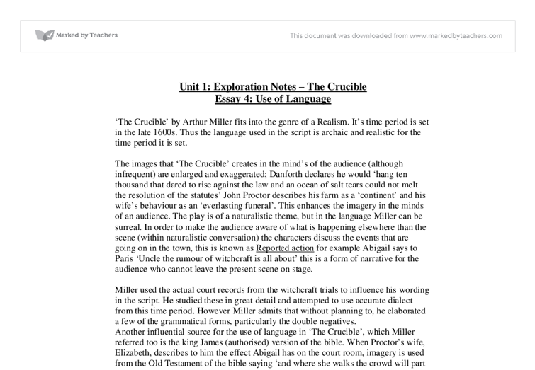 crucible theme essays