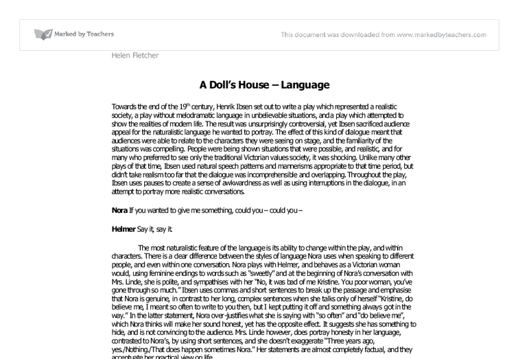 a doll s house language a level drama marked by teachers com document image preview