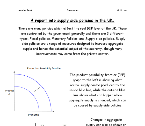 economics essay supply side policies in uk