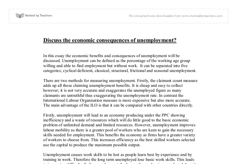 discuss the economic consequences of unemployment a level  document image preview
