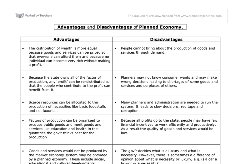Advantages and Disadvantages of Planned Economy  - A-Level Economics