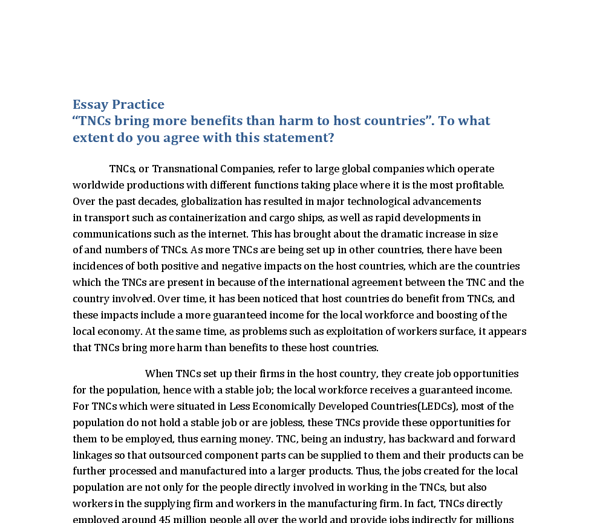 transnational companies essay Charged by the united nations (un) to provide research into foreign direct investment and the activities of multinational corporations, the united nationsread more here.