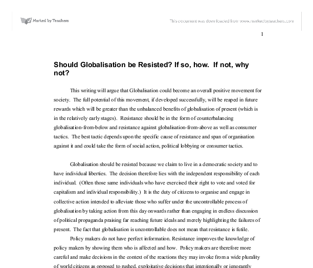 Should Globalisation be Resisted? Essay Sample