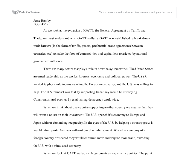 The Evolution Of Gatt The General Agreement On Tariffs And Trade