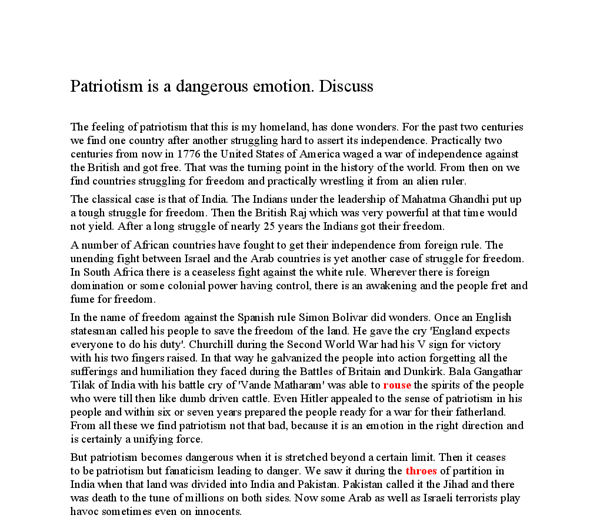 argumentative essay on patriotism A person who strongly supports and is ready to defend his country is a patriot the feelings and the qualities of a patriot are known as patriotism.