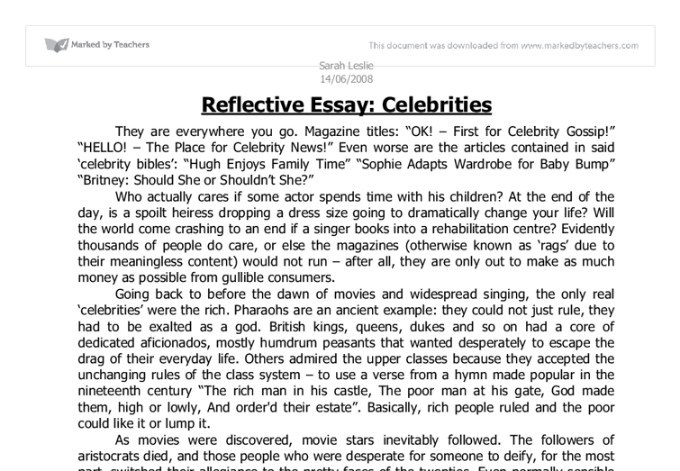 Reflective Essay Examples English Done Reflective Essay Examples
