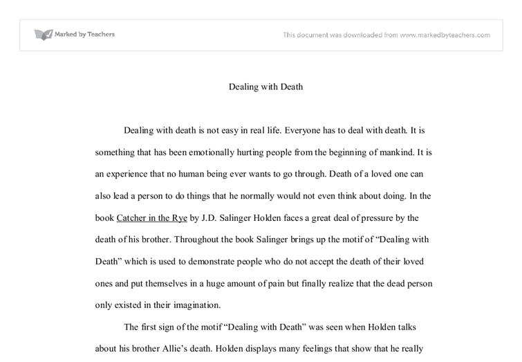 dealing death in catcher in the rye a level english document image preview