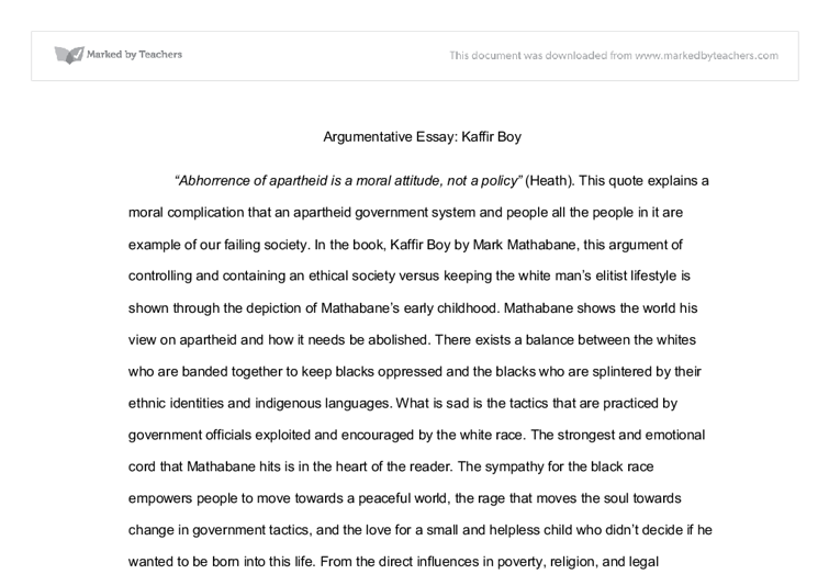 kaffir boy argumentative essay a level english marked by document image preview