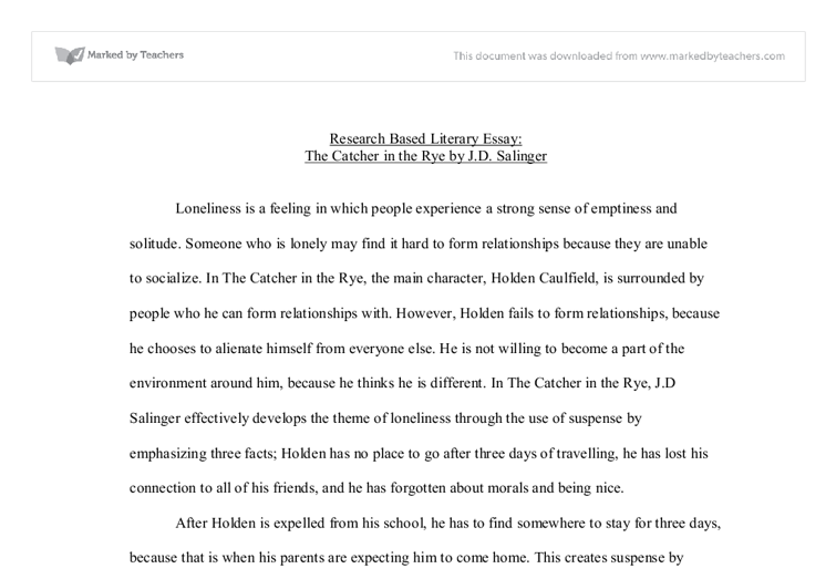 Loneliness In The Catcher In The Rye Persuasive Essay  Alevel  Document Image Preview