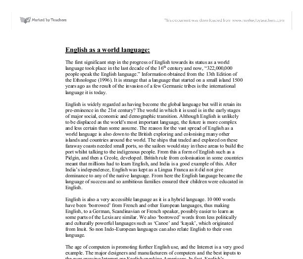 English As A World Language  Alevel English  Marked By Teacherscom Document Image Preview
