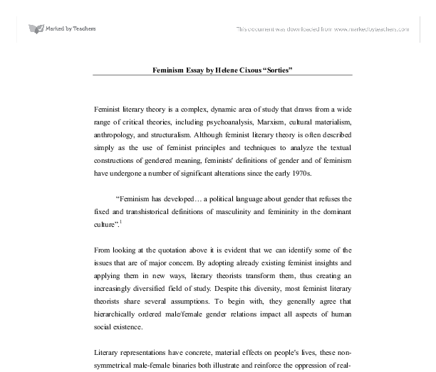 feminism essay by helene cixous sorties a level english document image preview