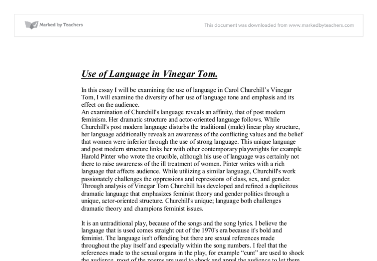context for vinegar tom essay Investigation of the cultural context out of which these plays grew includes a   earlier essay focuses primarily on vinegar tom, while the latter provides an.