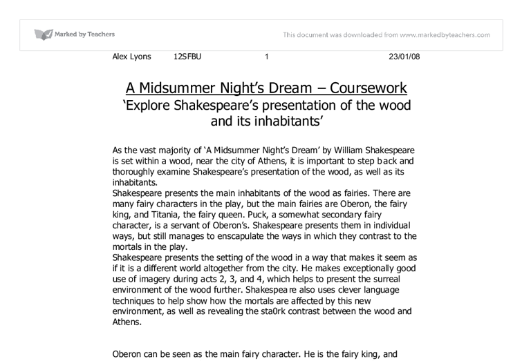 A Midsummer Night's Dream: The Irrational Nature of Love